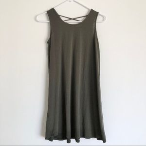 Olive Green Dress with Back Lace Up Details Small
